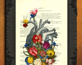 heart flowers, heart art print, floral anatomical heart artwork dictionary art, book page print, floral heart wall decor