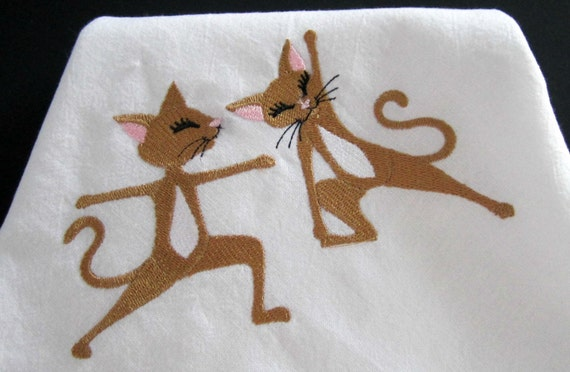 Flour sack towel yoga cats embroidery design lint free