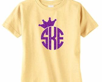 Large Glitter Crown Monogram Toddler T-Shirt, Girls Initial Shirt, Glitter Monogram Tee, Crown Monogram