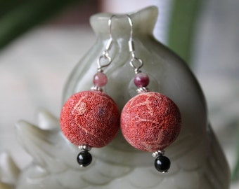 Nice Red Coral With Tourmaline Earrings, sterling silver hook