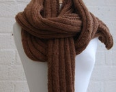 BLACK FRIDAY SALE Extra Long Pure Merino wool scarf, shawl in cinnamon, wrap