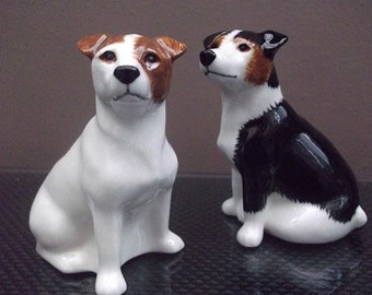 Jack Russell Salt and Pepper Shakers Hand Painted Jack Russell Salt and Pepper
