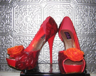 rose petal flower red heels with glitter