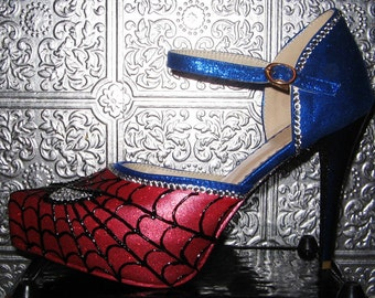 spiderman heels with crystal rhinestones and glittered heels
