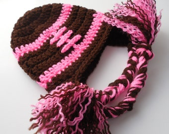 Baby Girl Football Hat - Brown and Pink - Handmade Crochet - Made to Order