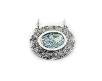 925 Sterling Silver Necklace, Ancient Roman Glass Pendant, Original Gift, Unique Jewelry