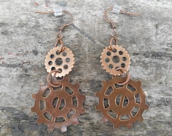 """Copper Gear Dangle Earrings 1 5/8"""" Long Steampunk, Industrial"""