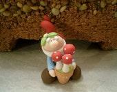 Garden Gnome and Pot of Mushrooms - Figurine