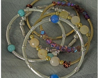 Bangles, Bangles, and More Bangles - Silver & Pewter Bead Bracelet