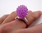 Bead and Wire Ring -Lavender Bead & Silver Plated Wire