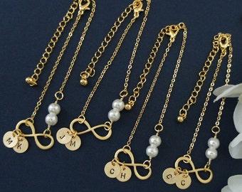 Infinity Bracelet. Pearl Bracelet. Initial Charm. Bridesmaid Gift. Everyday Bracelet. Girlfriend Gift. Birthday Gift. Gift for Her. Under 25
