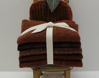 Cinnamon Hand-dyed Wool Bundle for Rug Hooking, Applique