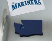 "Seattle Mariners ""State Heart"" Magnet, handcrafted wood with official team colors"