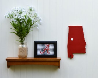 "Alabama Crimson Tide ""State Heart"" wall art, handcrafted wood with official team colors"