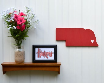 "Nebraska Cornhuskers  ""State Heart"" wall art, handcrafted wood wtih official team colors"