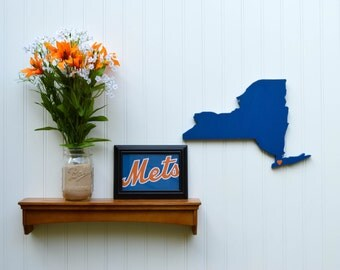 """New York Mets """"State Heart"""" wall art, handcrafted wood with official team colors"""