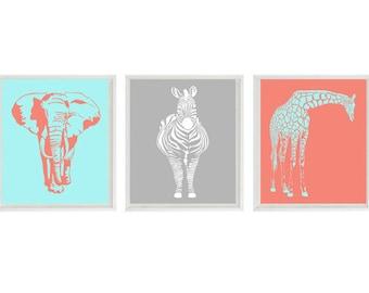 Safari Nursery Wall Art Prints  - Aqua Coral Gray Decor Silhouette Giraffe Elephant Zebra - Children Room Home Decor