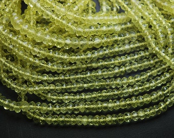 14 Inch Strands,GREEN LEMON QUARTZ Micro Faceted Rondells,4-4.5mm approx