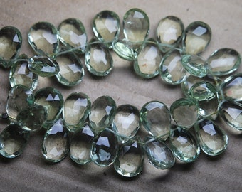15 Pcs, Super Rare AAA Natural GREEN AMETHYST Faceted Pear Shaped Briolettes,Size 13-15mm