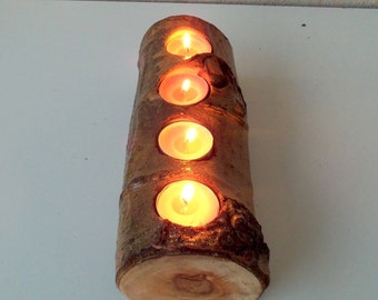 Wood Candle Holder -Candle Holder with 4 Tea Light Spots - Wood Log Holder - White Tree Candle Holder - Wedding Decoration