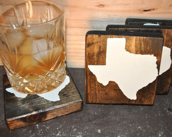 Dark Stain Wood State Matching Coaster Set