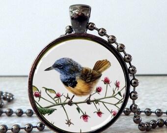 Bird Pendant, Bird Necklace, Bird Jewelry, Bird Art Glass Pendant, Nature Jewelry, Bird and Flowers Necklace