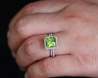 Princess Cut Peridot Engagement Ring 8mm Princess Cut and Diamond Halo Wedding Ring Set in  14k White Gold