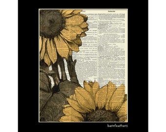Vintage Sunflower Illustration printed on a Dictionary Page - Book Art Print  - Home Decor No. P331