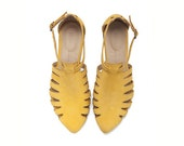 Yellow sandals, Alice, Flats, Leather Sandals, Handmade, Flat Sandals by tamar shalem on etsy
