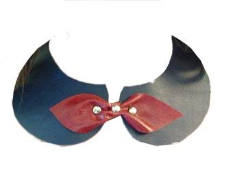 PETER PAN COLLAR, Royal Blue leather collar, leather Peter Pan collar