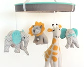 Baby Mobile--Aqua Yellow Grey Jungle Animal Mobile