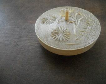 Vintage Soviet plastic lidded box Floral plastic box Small off white plastic box Storage box USSR era