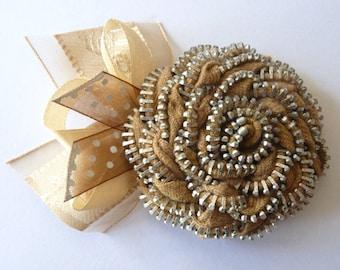 Handmade beige Zip Rose Brooch