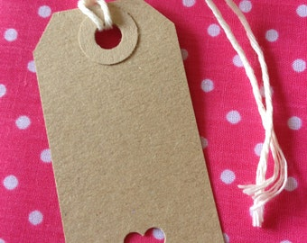 Vintage Style Luggage tags PACK of 10- Heart Cut out.