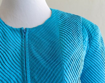 SALE 33% OFF: 1980's Pintucked Blue Satin Jacket by Anthony Vask