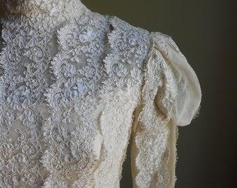 Priscilla of Boston Lace Wedding Dress Train 1960s Couture Vintage Bridal