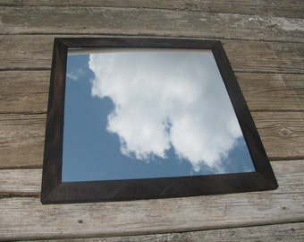 Small Mirror in rough sawn Wood Frame