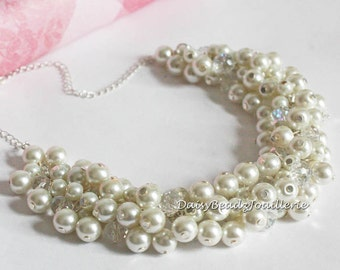 Ivory Pearl Cluster Necklace, Ivory Necklace, Bridesmaids Necklace, Ivory Pearl Necklace, Ivory Chunky Necklace Earrings, Ivory Necklace Set