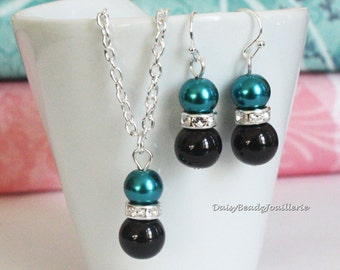 Teal and Black Necklace and Earrings, Pearl Jewelry, Teal and Black Flower Girl Necklace and Earrings, Bridesmaid Jewelry, Teal Necklace