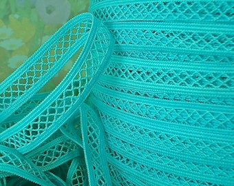 3yds Elastic Stretch Mesh Lattice Ribbon 1/2 inch wide Turquoise Elastic Baby Headbands Elastic by the yard WST Firm