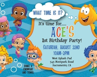 Bubble Guppie Birthday Invitation - Photo You-Print Digital Invitation