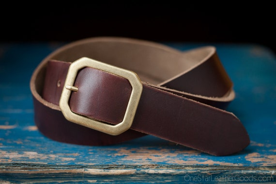 "Custom sized belt - Horween Chromexcel leather - 1.5"" width, center bar buckle - brown"