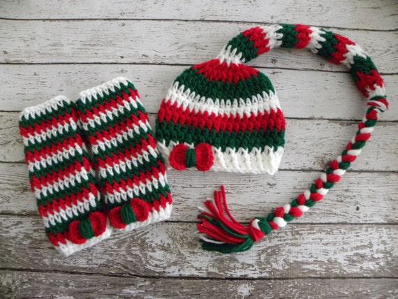 Free Crochet Pattern Long Tail Elf Hat : Christmas long tail elf hat and crochet baby leg warmers.