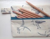 Pencil Case - Hand printed seagull fabric - Handprinted Linen Fabric