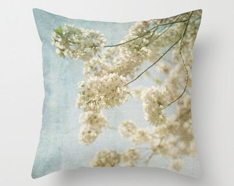Blessings -  Pillow Cover -  Apartment, Dorm, Home, Decor, Photography, Whimsical, cottage, shabby, chic, cherry blossoms, blue, white,