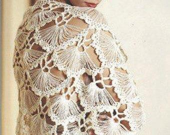Crochet Shawl Pattern - Womens One Size Fringe Shawl - Instant Download