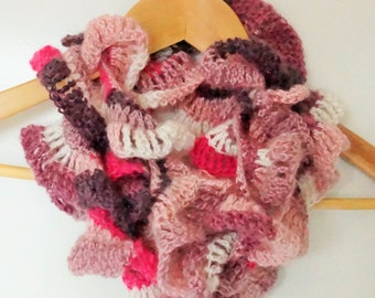 Pink, white and purple curly wurly scarf