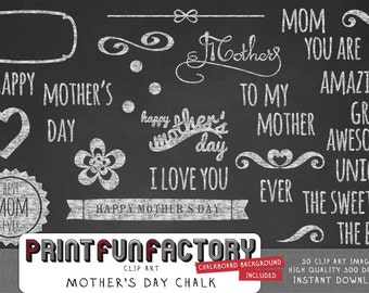 Mother's day chalk ornaments & text clip art INSTANT DOWNLOAD
