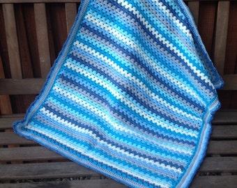 Crochet blanket kit DK 'Little Boy Blue' - blue and cream granny stripe - various sizes