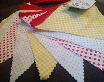 9 Flag Carnival Time in Dots Fabric Bunting Banner